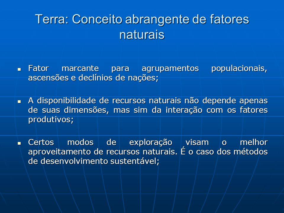 Terra: Conceito abrangente de fatores naturais Fator marcante para agrupamentos populacionais, ascensões e declínios de nações; Fator marcante para ag