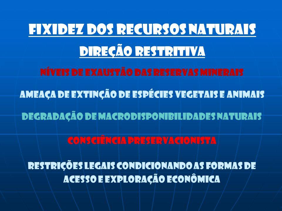 Níveis de exaustão das reservas minerais Ameaça de extinção de espécies vegetais e animais Degradação de macrodisponibilidades naturais Consciência pr