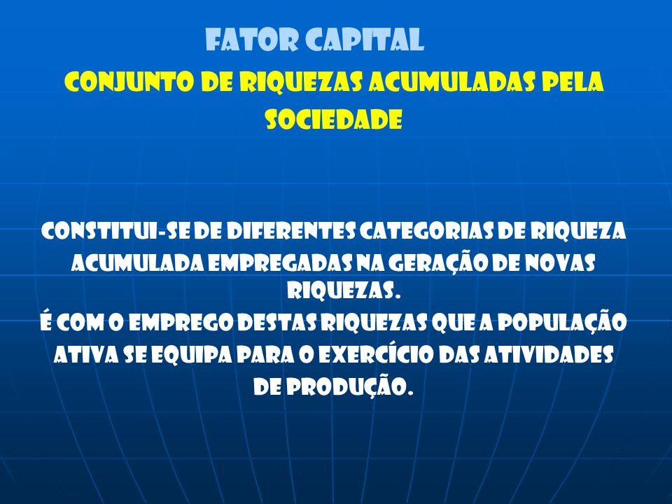 FATOR CAPITAL CONJUNTO DE RIQUEZAS ACUMULADAS PELA SOCIEDADE CONSTITUI-SE DE DIFERENTES CATEGORIAS DE RIQUEZA ACUMULADA EMPREGADAS NA GERAÇÃO DE NOVAS