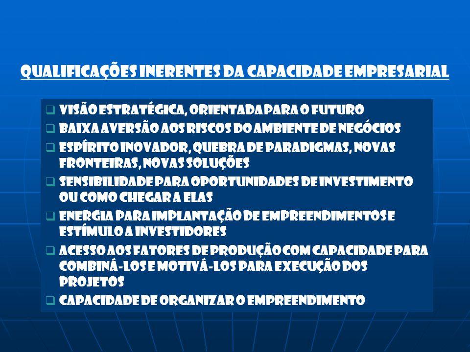 Qualificações inerentes da capacidade empresarial VVisão estratégica, orientada para o futuro BBaixa aversão aos riscos do ambiente de negócios E