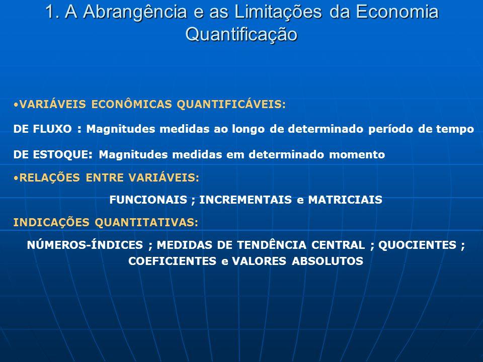 1. A Abrangência e as Limitações da Economia Quantificação VARIÁVEIS ECONÔMICAS QUANTIFICÁVEIS: DE FLUXO : Magnitudes medidas ao longo de determinado