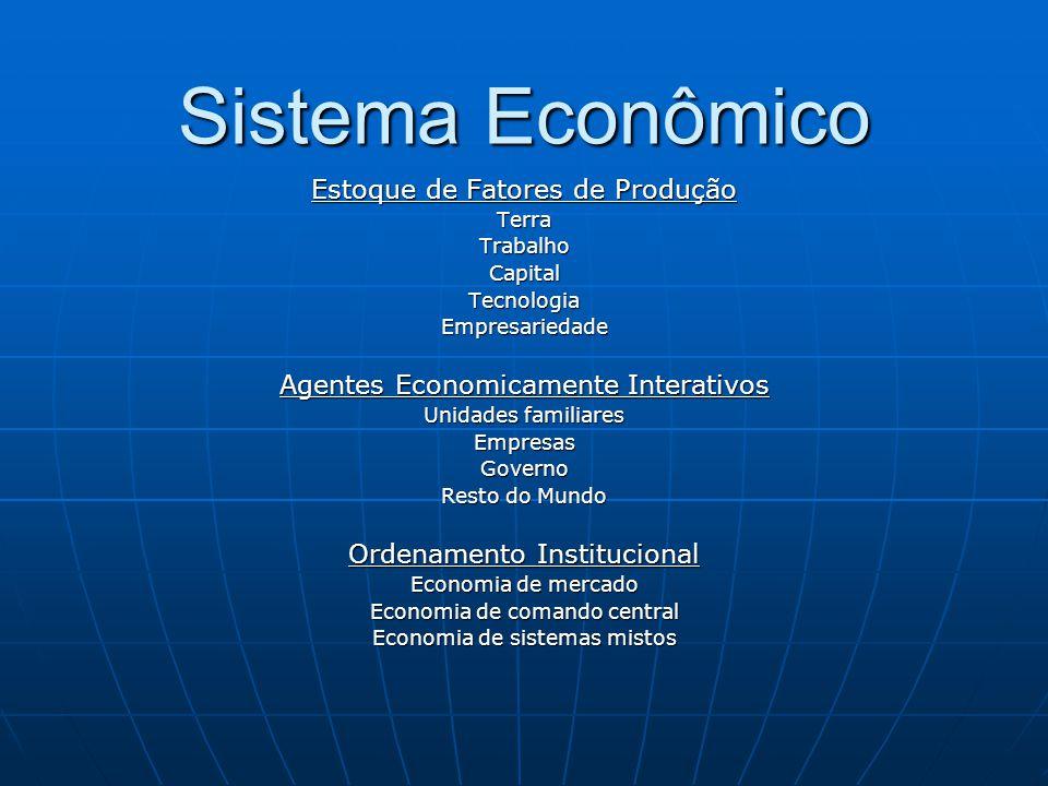 Sistema Econômico Estoque de Fatores de Produção TerraTrabalhoCapitalTecnologiaEmpresariedade Agentes Economicamente Interativos Unidades familiares E