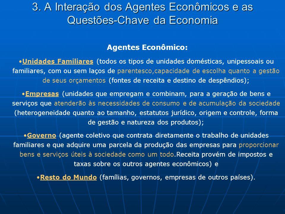 3. A Interação dos Agentes Econômicos e as Questões-Chave da Economia Agentes Econômico: Unidades Familiares (todos os tipos de unidades domésticas, u