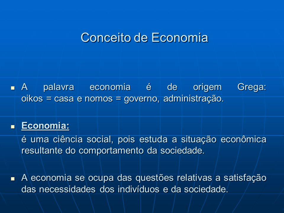 Conceito de Economia A palavra economia é de origem Grega: oikos = casa e nomos = governo, administração. A palavra economia é de origem Grega: oikos
