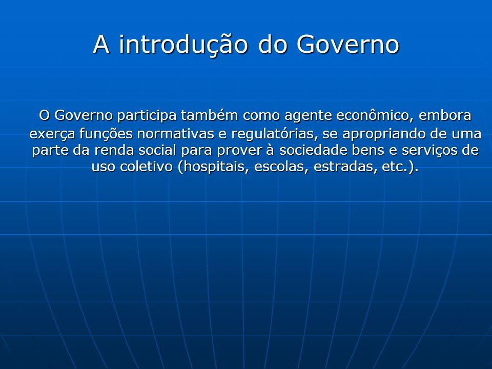 A introdução do Governo O Governo participa também como agente econômico, embora exerça funções normativas e regulatórias, se apropriando de uma parte