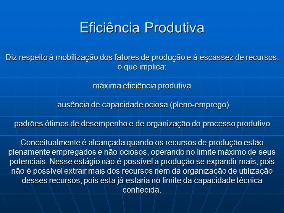 Eficiência Produtiva Diz respeito à mobilização dos fatores de produção e à escassez de recursos, o que implica: máxima eficiência produtiva ausência