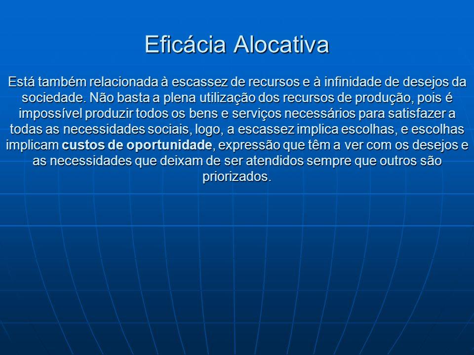Eficácia Alocativa Está também relacionada à escassez de recursos e à infinidade de desejos da sociedade. Não basta a plena utilização dos recursos de