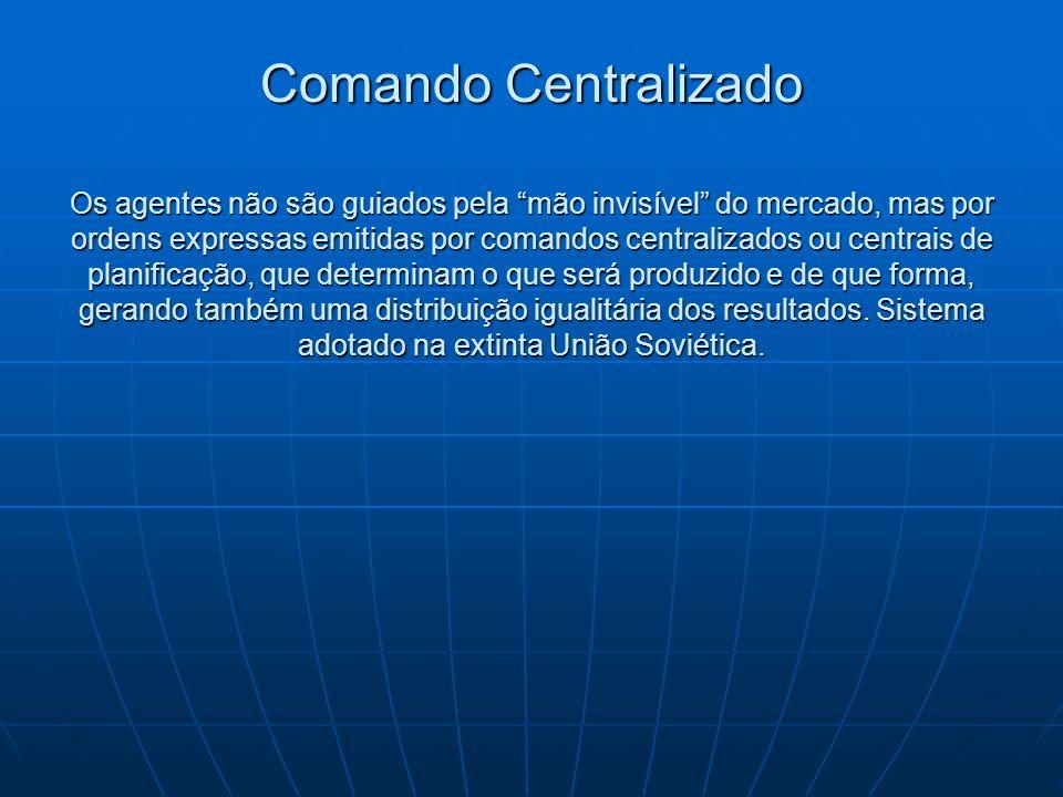 """Comando Centralizado Os agentes não são guiados pela """"mão invisível"""" do mercado, mas por ordens expressas emitidas por comandos centralizados ou centr"""