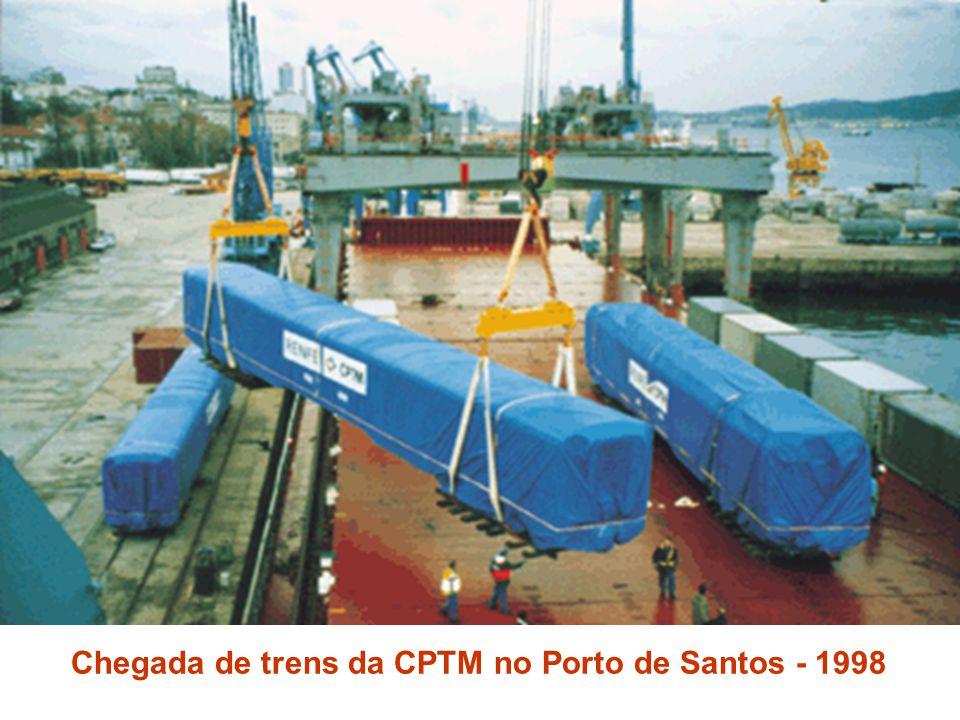 Chegada de trens da CPTM no Porto de Santos - 1998