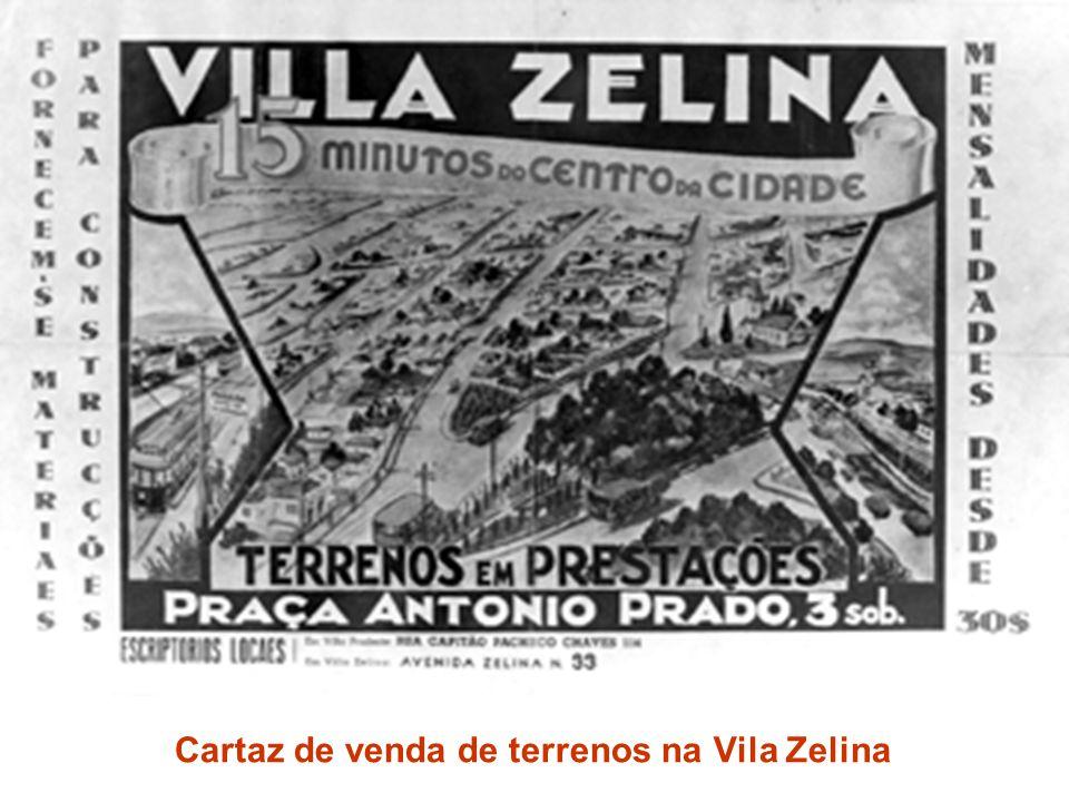 Cartaz de venda de terrenos na Vila Zelina