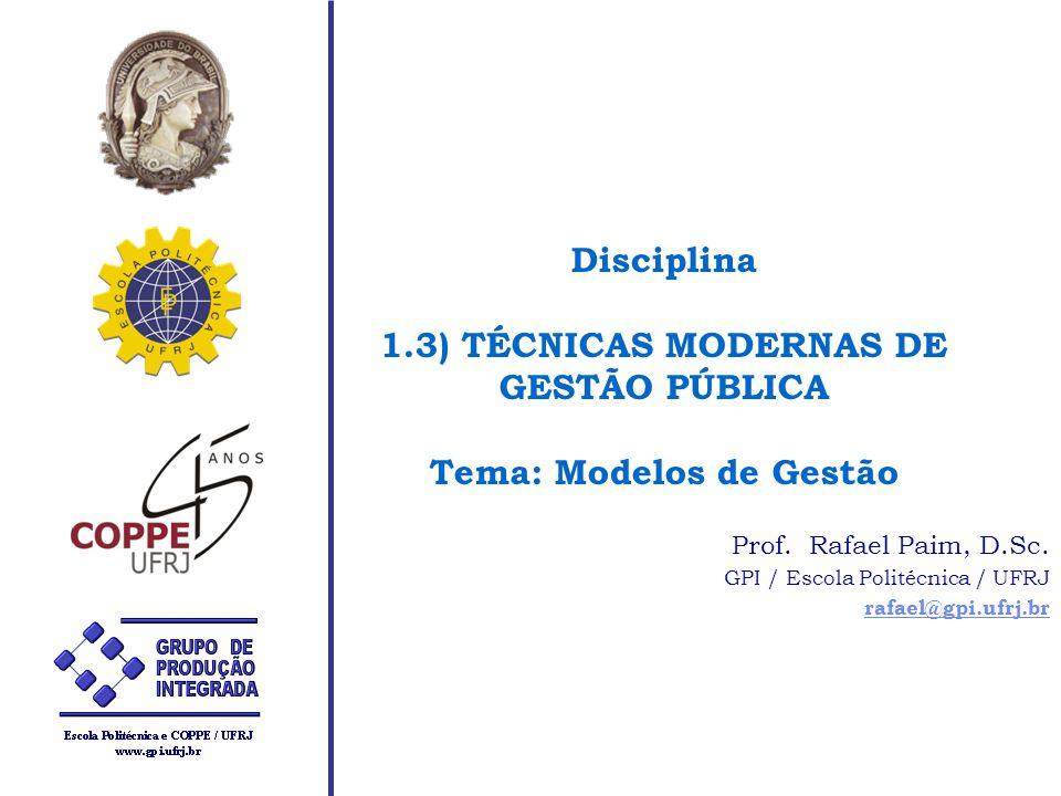 Disciplina 1.3) TÉCNICAS MODERNAS DE GESTÃO PÚBLICA Tema: Modelos de Gestão Prof. Rafael Paim, D.Sc. GPI / Escola Politécnica / UFRJ rafael@gpi.ufrj.b