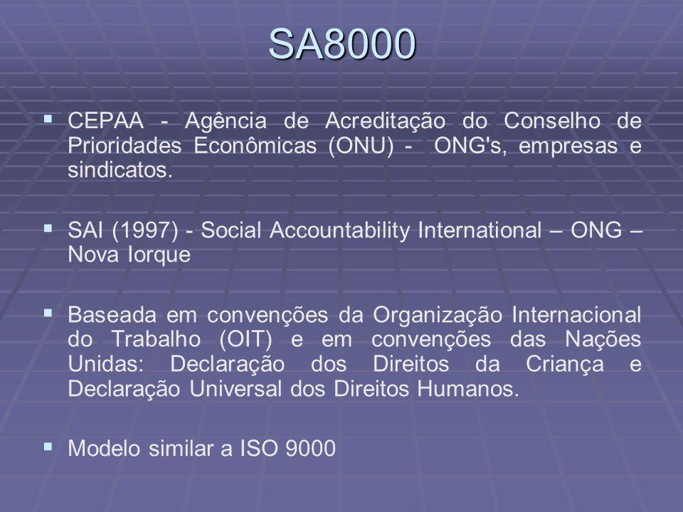 SA8000   CEPAA - Agência de Acreditação do Conselho de Prioridades Econômicas (ONU) - ONG's, empresas e sindicatos.   SAI (1997) - Social Accounta