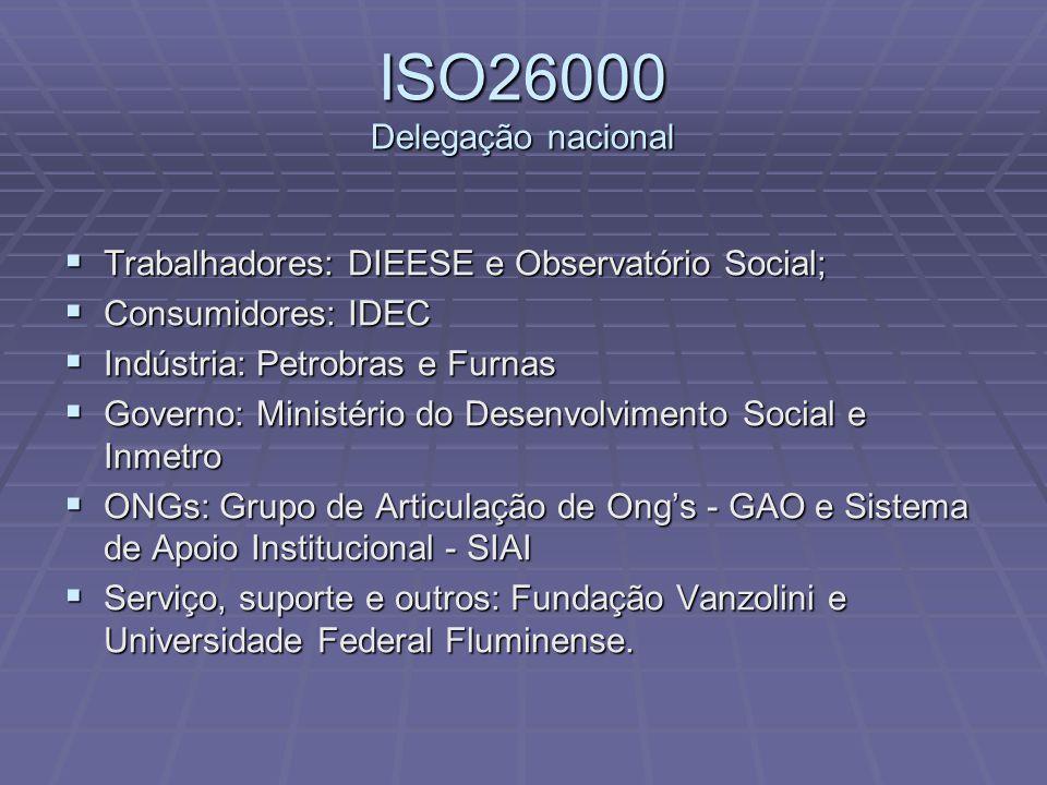 ISO26000 Delegação nacional  Trabalhadores: DIEESE e Observatório Social;  Consumidores: IDEC  Indústria: Petrobras e Furnas  Governo: Ministério