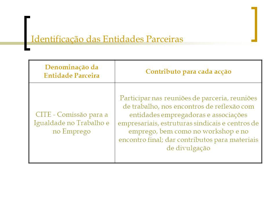 Identificação das Entidades Parceiras Denominação da Entidade Parceira Contributo para cada acção CITE - Comissão para a Igualdade no Trabalho e no Emprego Participar nas reuniões de parceria, reuniões de trabalho, nos encontros de reflexão com entidades empregadoras e associações empresariais, estruturas sindicais e centros de emprego, bem como no workshop e no encontro final; dar contributos para materiais de divulgação