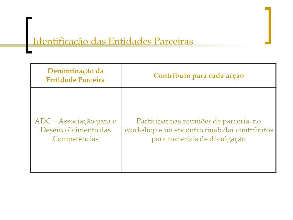 Identificação das Entidades Parceiras Denominação da Entidade Parceira Contributo para cada acção ADC – Associação para o Desenvolvimento das Competências Participar nas reuniões de parceria, no workshop e no encontro final; dar contributos para materiais de divulgação