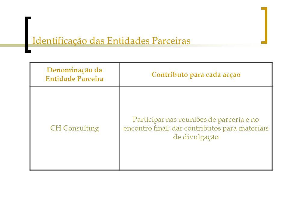 Identificação das Entidades Parceiras Denominação da Entidade Parceira Contributo para cada acção CH Consulting Participar nas reuniões de parceria e no encontro final; dar contributos para materiais de divulgação