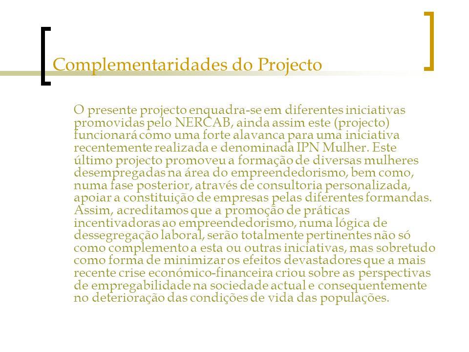 Complementaridades do Projecto O presente projecto enquadra-se em diferentes iniciativas promovidas pelo NERCAB, ainda assim este (projecto) funcionará como uma forte alavanca para uma iniciativa recentemente realizada e denominada IPN Mulher.