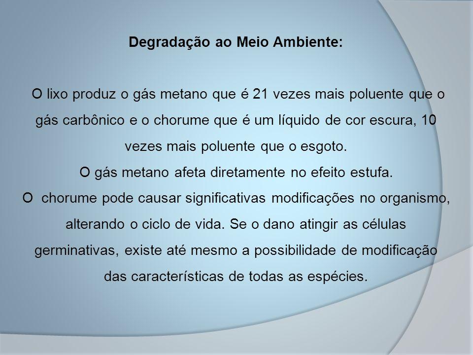 Degradação ao Meio Ambiente: O lixo produz o gás metano que é 21 vezes mais poluente que o gás carbônico e o chorume que é um líquido de cor escura, 1