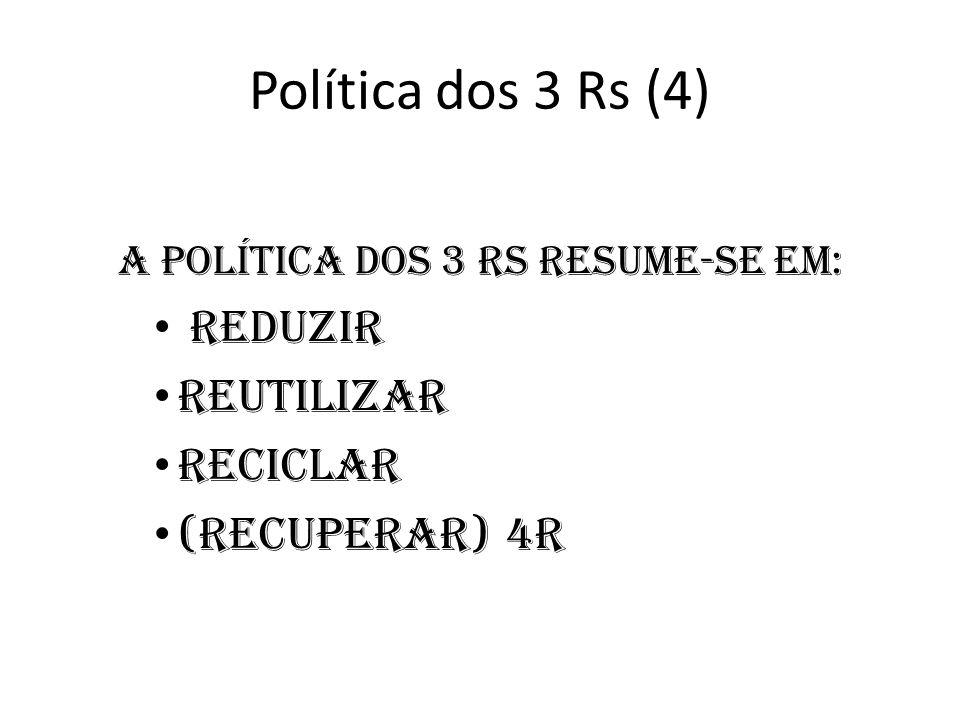 Política dos 3 Rs (4) A política dos 3 Rs resume-se em: Reduzir Reutilizar Reciclar (recuperar) 4R