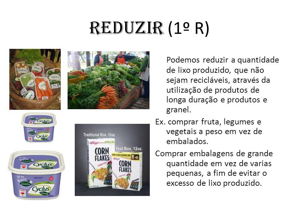 Reduzir (1º R) Podemos reduzir a quantidade de lixo produzido, que não sejam recicláveis, através da utilização de produtos de longa duração e produto