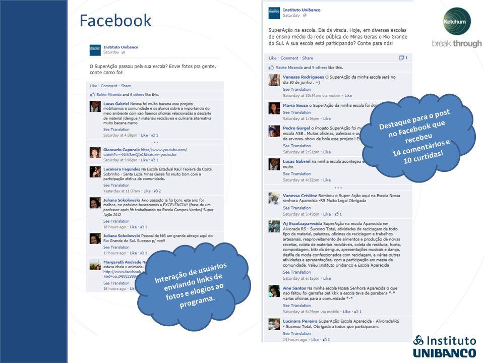 Facebook Destaque para o post no Facebook com 11 curtidas, 4 comentários positivos e 1 compartilhamento Destaque para o post no Facebook que recebeu 14 comentários e 10 curtidas.
