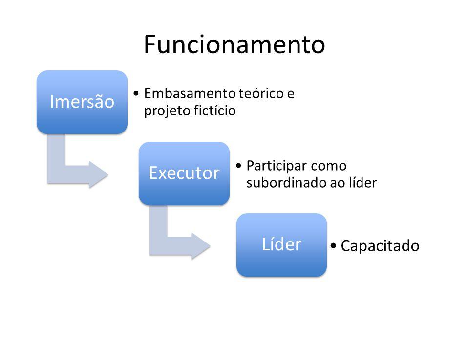 Funcionamento Imersão Embasamento teórico e projeto fictício Executor Participar como subordinado ao líder Líder Capacitado
