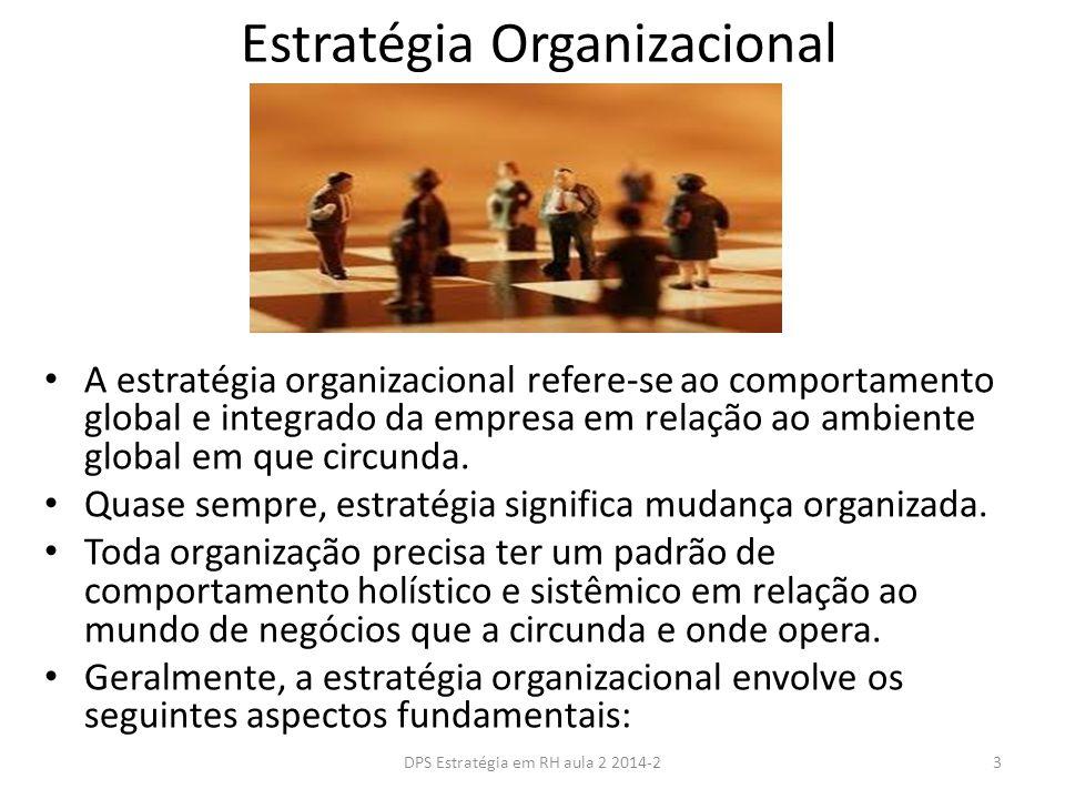 Os passos no planejamento estratégico de RH Objetivos e estratégias organizacionais Objetivos e estratégias de RH Etapa 1: Avaliar os atuais recursos humanos Etapa 2: Prever as necessidades de recursos humanos Etapa 3: Desenvolver e implementar planos de recursos humanos Corrigir/evitar excesso do pessoal Corrigir/evitar falta de pessoal Comparação 14DPS Estratégia em RH aula 2 2014-2