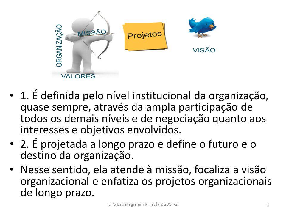 1. É definida pelo nível institucional da organização, quase sempre, através da ampla participação de todos os demais níveis e de negociação quanto ao