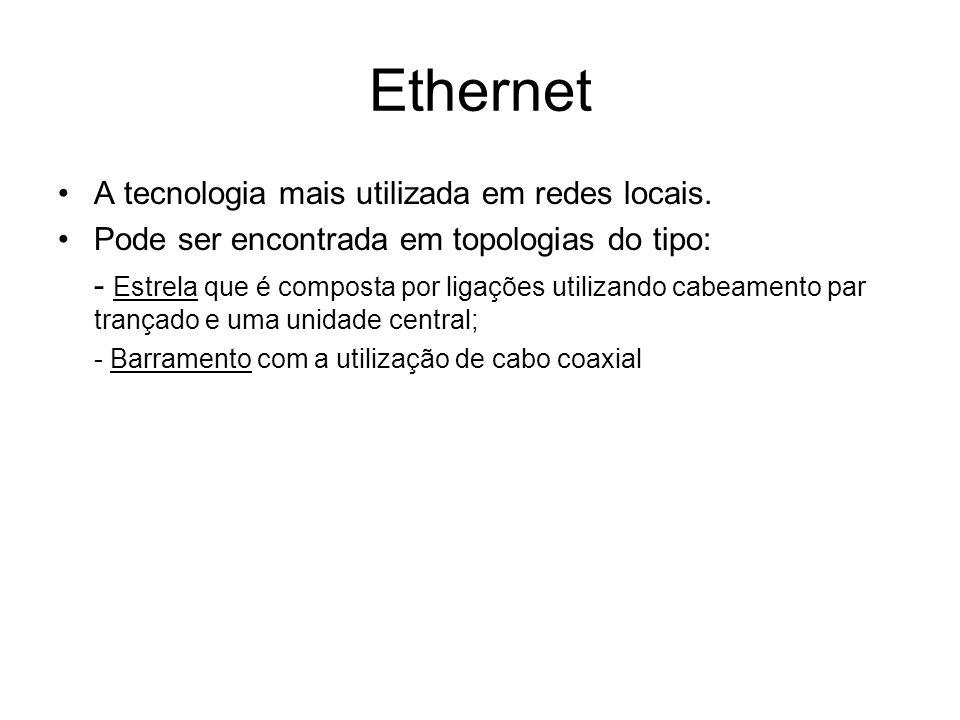 Ethernet A tecnologia mais utilizada em redes locais. Pode ser encontrada em topologias do tipo: - Estrela que é composta por ligações utilizando cabe