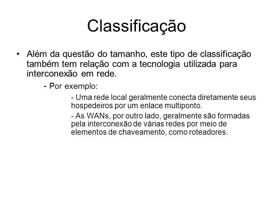 Classificação Além da questão do tamanho, este tipo de classificação também tem relação com a tecnologia utilizada para interconexão em rede. - Por ex