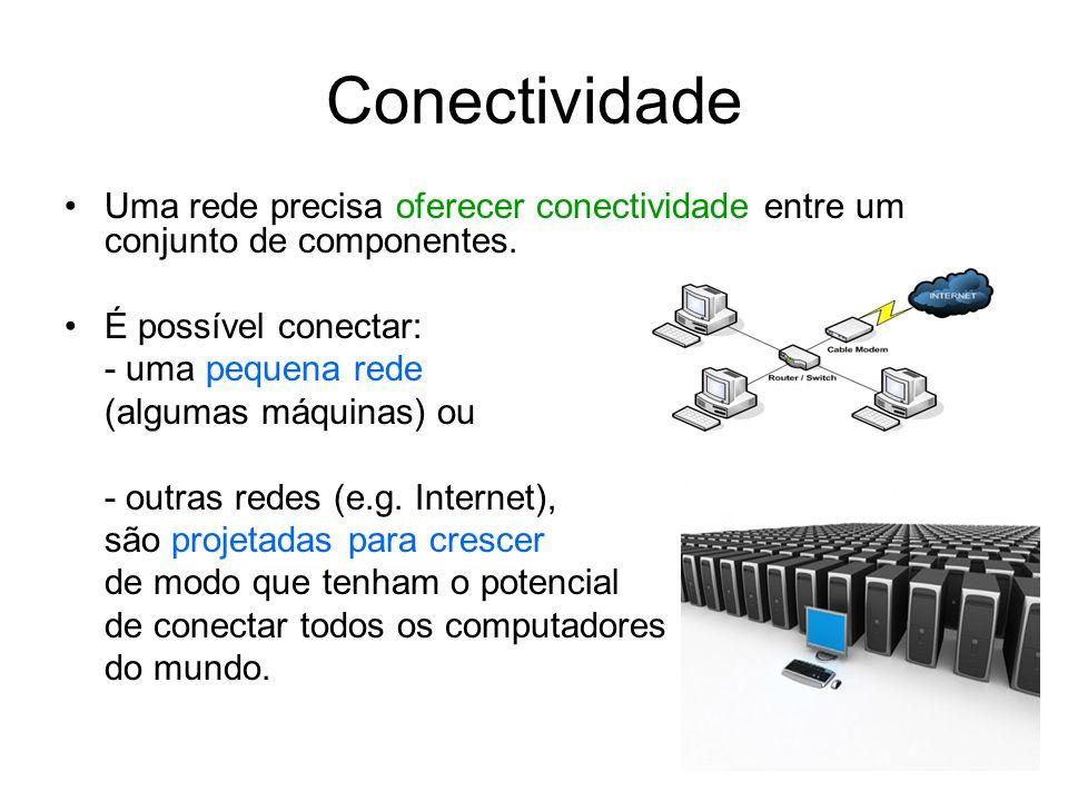 Conectividade Uma rede precisa oferecer conectividade entre um conjunto de componentes. É possível conectar: - uma pequena rede (algumas máquinas) ou