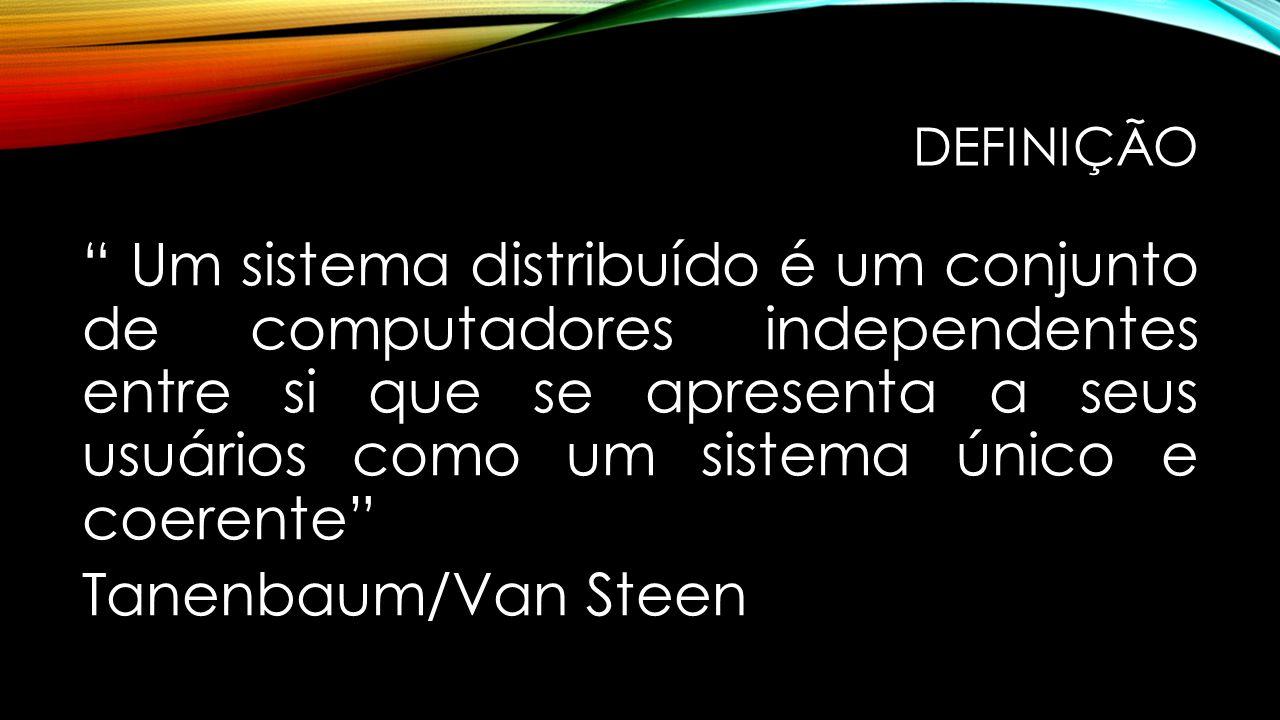 """DEFINIÇÃO """" Um sistema distribuído é um conjunto de computadores independentes entre si que se apresenta a seus usuários como um sistema único e coere"""