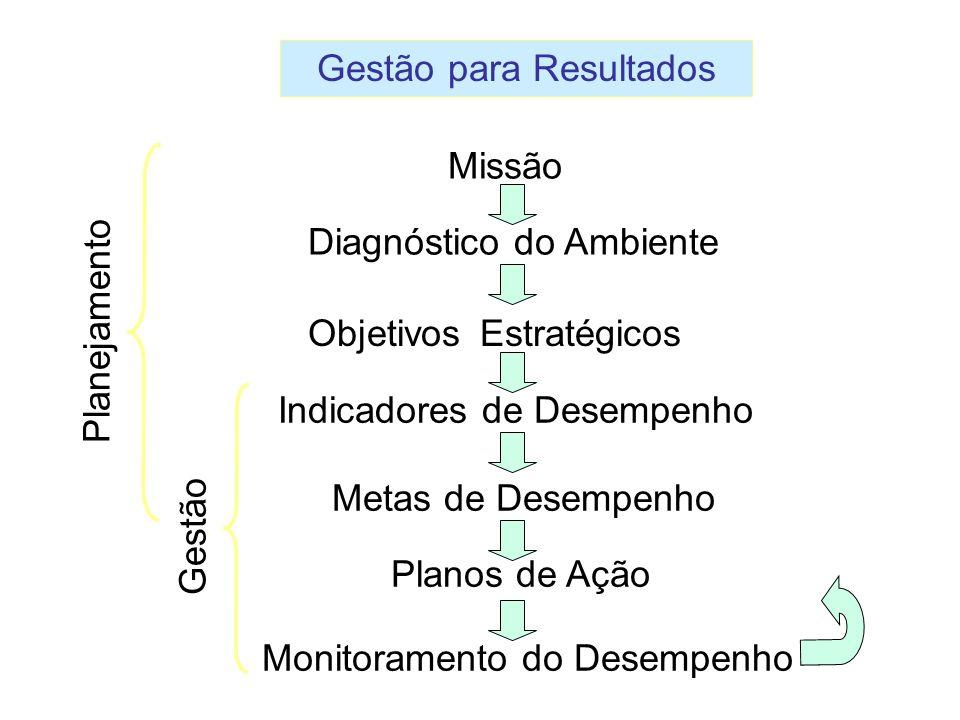 Missão Diagnóstico do Ambiente Objetivos Estratégicos Indicadores de Desempenho Metas de Desempenho Monitoramento do Desempenho Planos de Ação Planeja