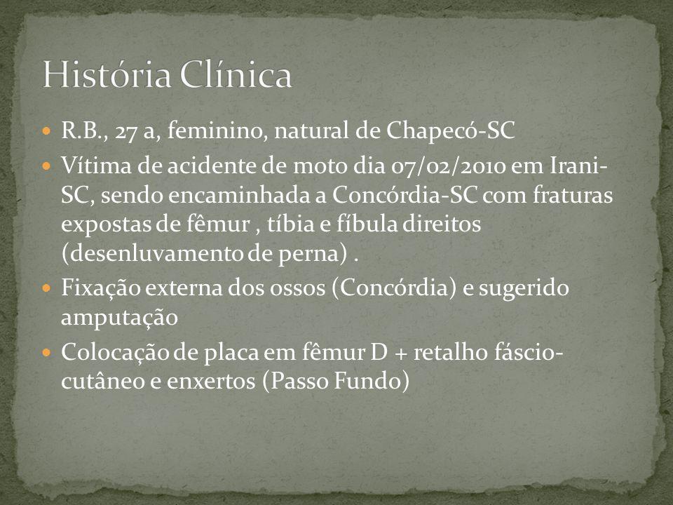 R.B., 27 a, feminino, natural de Chapecó-SC Vítima de acidente de moto dia 07/02/2010 em Irani- SC, sendo encaminhada a Concórdia-SC com fraturas expo