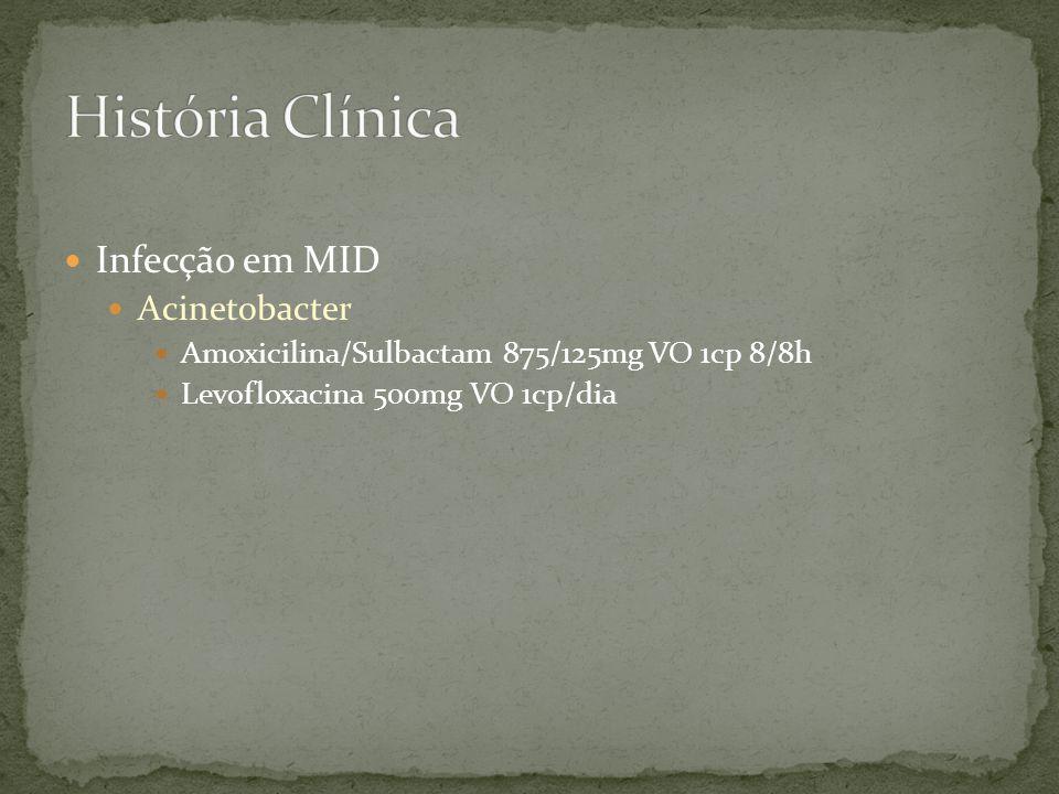 Infecção em MID Acinetobacter Amoxicilina/Sulbactam 875/125mg VO 1cp 8/8h Levofloxacina 500mg VO 1cp/dia