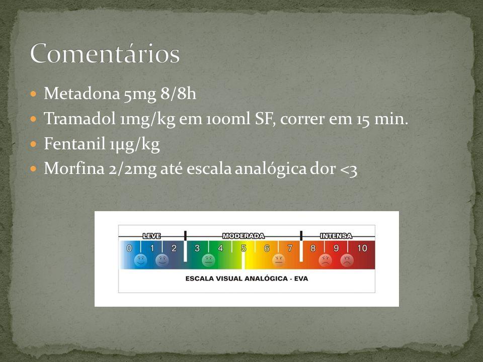 Metadona 5mg 8/8h Tramadol 1mg/kg em 100ml SF, correr em 15 min. Fentanil 1μg/kg Morfina 2/2mg até escala analógica dor <3