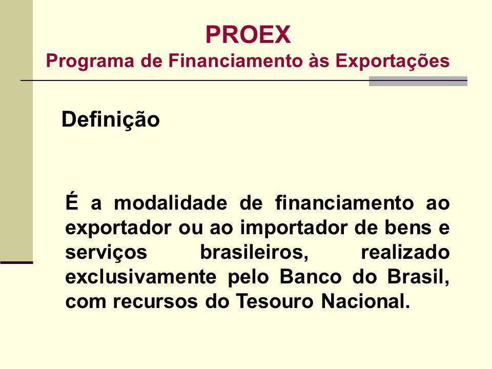 PROEX Programa de Financiamento às Exportações É a modalidade de financiamento ao exportador ou ao importador de bens e serviços brasileiros, realizad