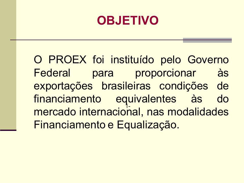 1- OBJETIVO O PROEX foi instituído pelo Governo Federal para proporcionar às exportações brasileiras condições de financiamento equivalentes às do mer