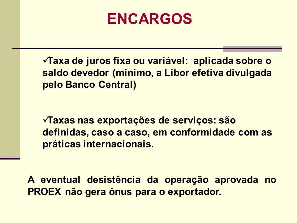 ENCARGOS Taxa de juros fixa ou variável: aplicada sobre o saldo devedor (mínimo, a Libor efetiva divulgada pelo Banco Central) Taxas nas exportações d