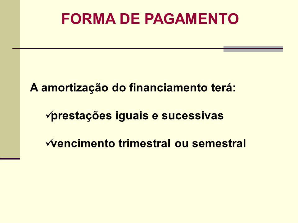 FORMA DE PAGAMENTO A amortização do financiamento terá: prestações iguais e sucessivas vencimento trimestral ou semestral