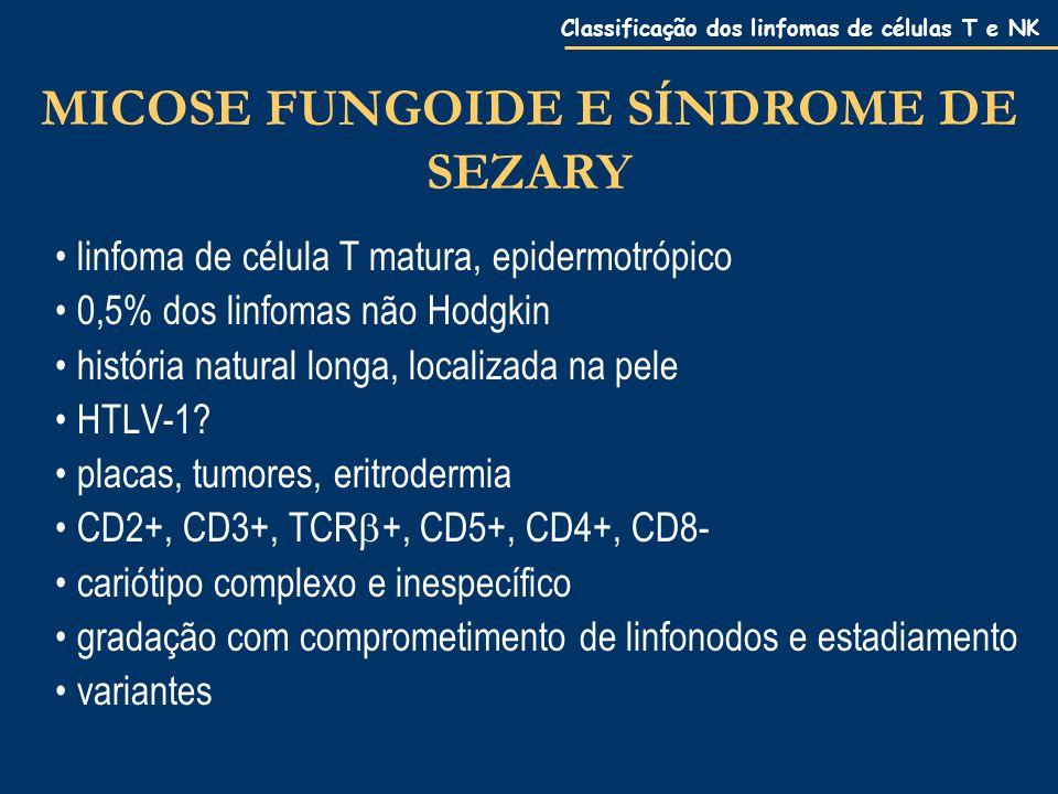 Classificação dos linfomas de células T e NK MICOSE FUNGOIDE E SÍNDROME DE SEZARY linfoma de célula T matura, epidermotrópico 0,5% dos linfomas não Hodgkin história natural longa, localizada na pele HTLV-1.