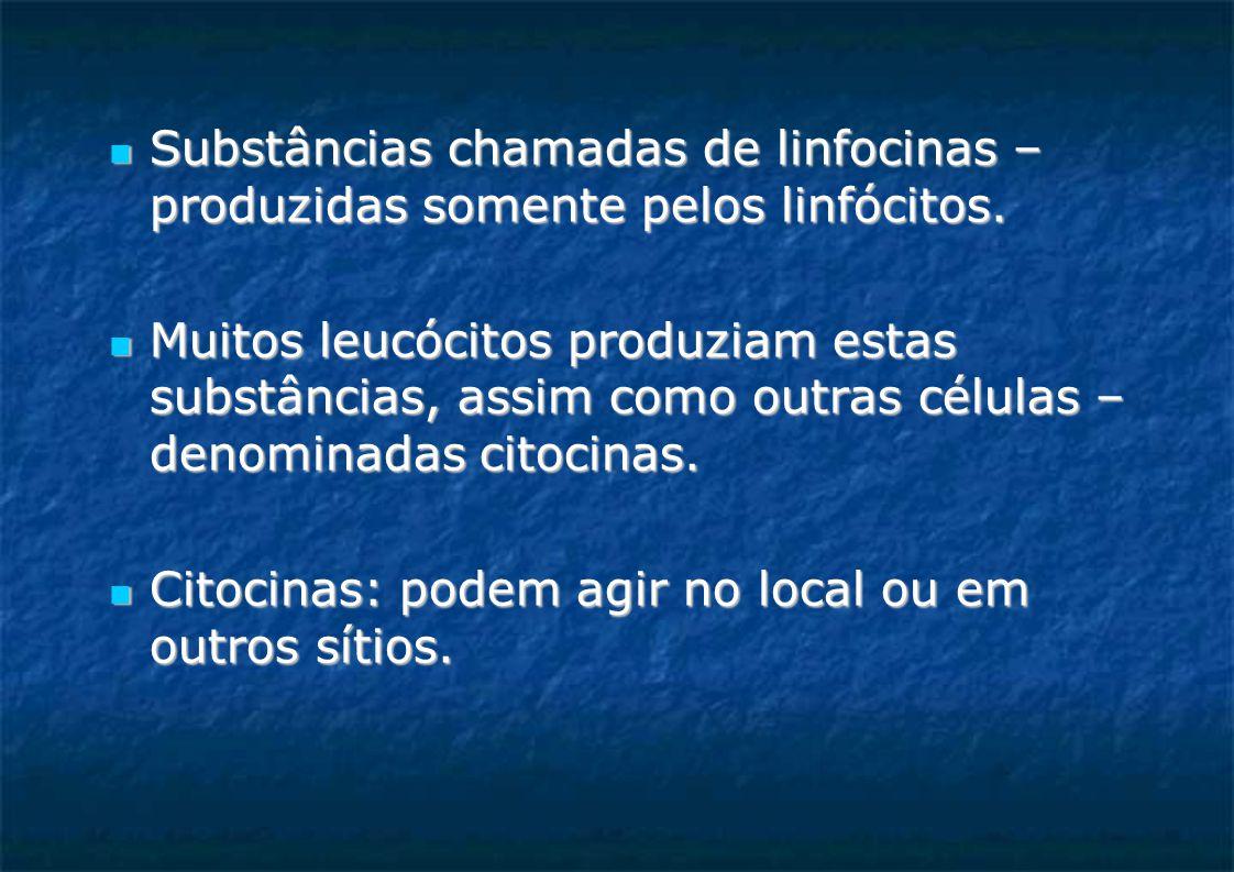 Substâncias chamadas de linfocinas – produzidas somente pelos linfócitos. Substâncias chamadas de linfocinas – produzidas somente pelos linfócitos. Mu