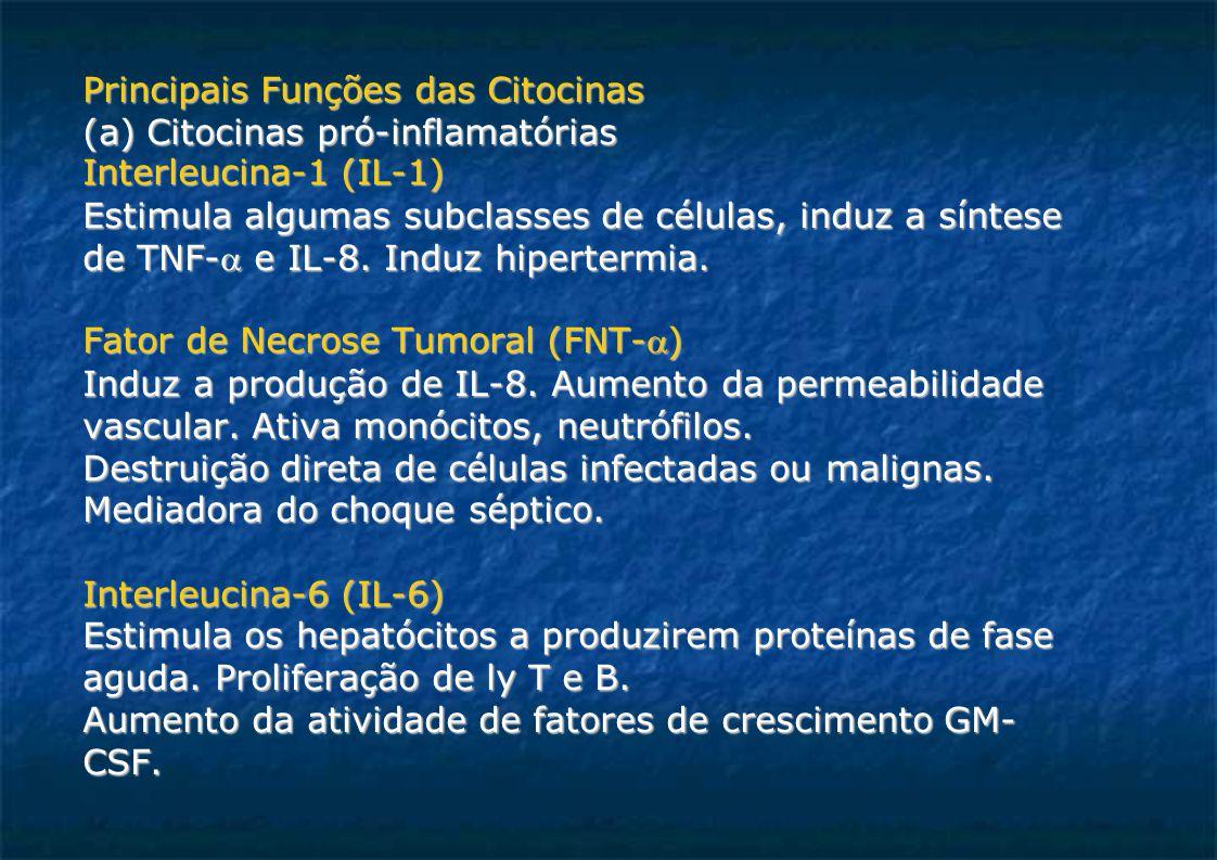 Principais Funções das Citocinas (a) Citocinas pró-inflamatórias Interleucina-1 (IL-1)  Estimula algumas subclasses de células, induz a síntese de TNF- e IL-8.