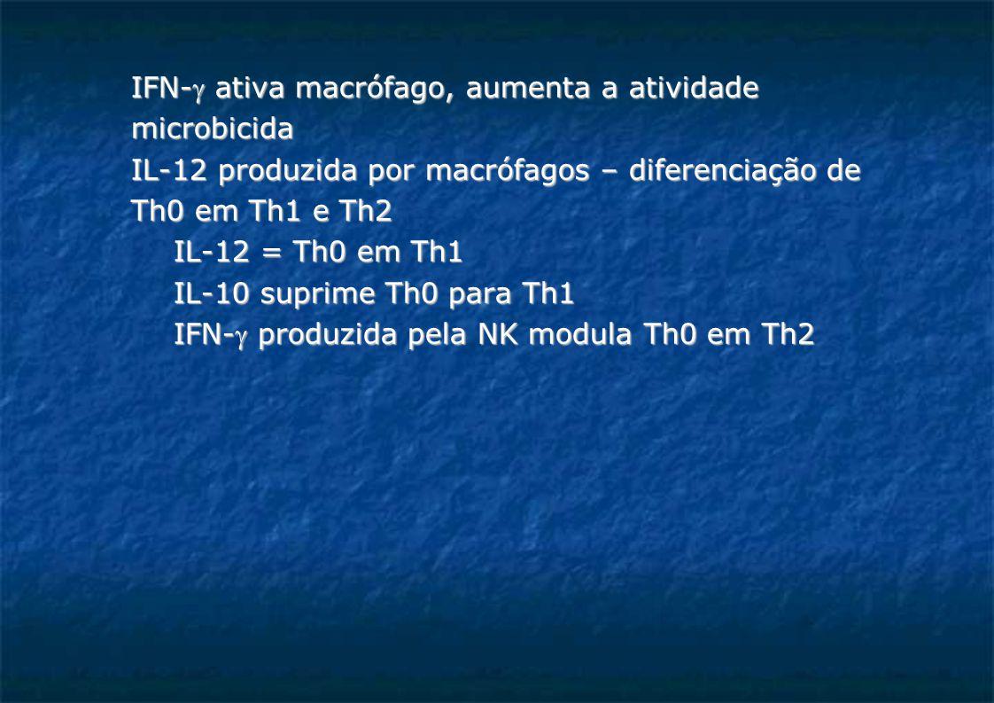 IFN- ativa macrófago, aumenta a atividade microbicida IL-12 produzida por macrófagos – diferenciação de Th0 em Th1 e Th2 IL-12 = Th0 em Th1 IL-10 suprime Th0 para Th1 IFN- produzida pela NK modula Th0 em Th2
