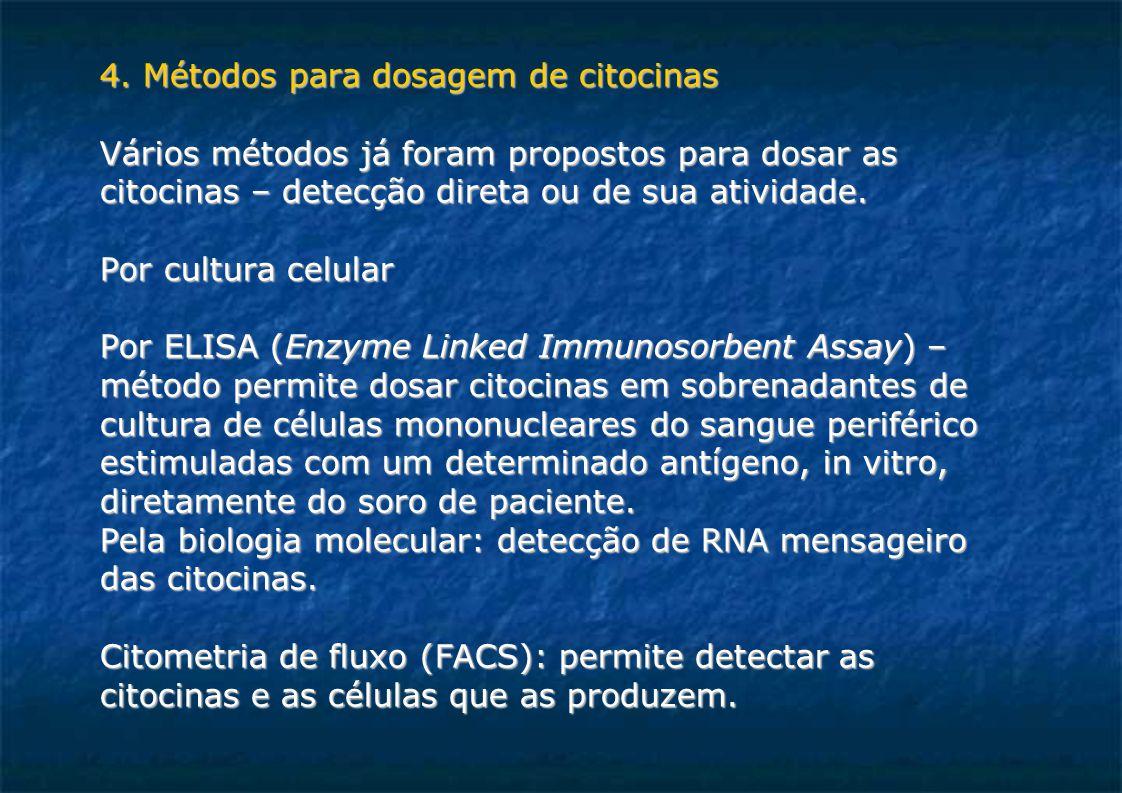 4. Métodos para dosagem de citocinas Vários métodos já foram propostos para dosar as citocinas – detecção direta ou de sua atividade. Por cultura celu