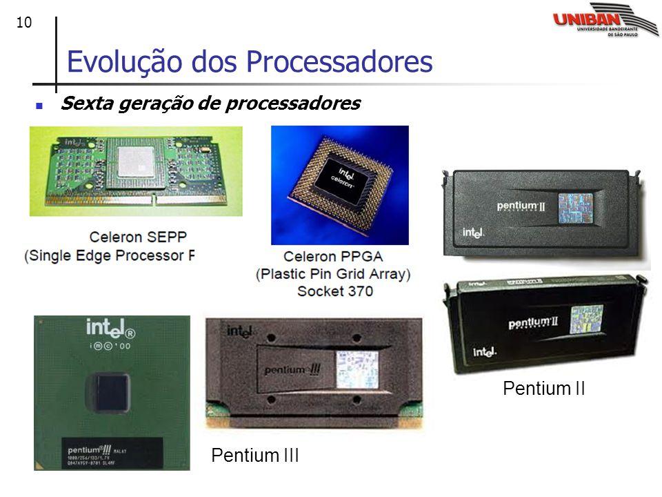 10 Evolução dos Processadores Sexta geração de processadores Pentium II Pentium III