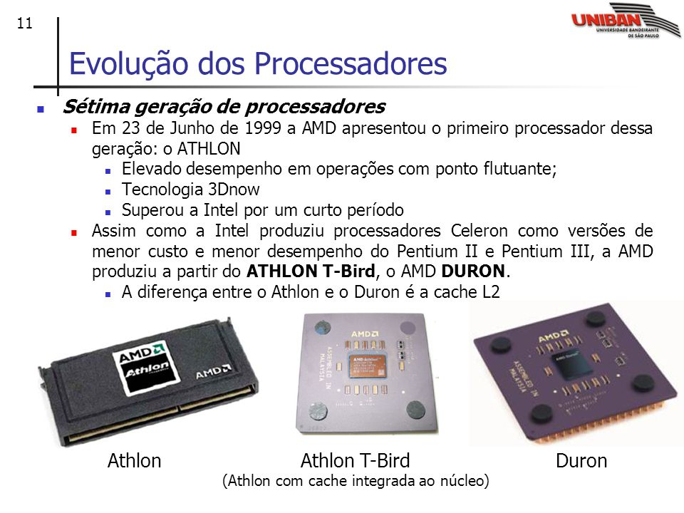 11 Evolução dos Processadores Sétima geração de processadores Em 23 de Junho de 1999 a AMD apresentou o primeiro processador dessa geração: o ATHLON Elevado desempenho em operações com ponto flutuante; Tecnologia 3Dnow Superou a Intel por um curto período Assim como a Intel produziu processadores Celeron como versões de menor custo e menor desempenho do Pentium II e Pentium III, a AMD produziu a partir do ATHLON T-Bird, o AMD DURON.