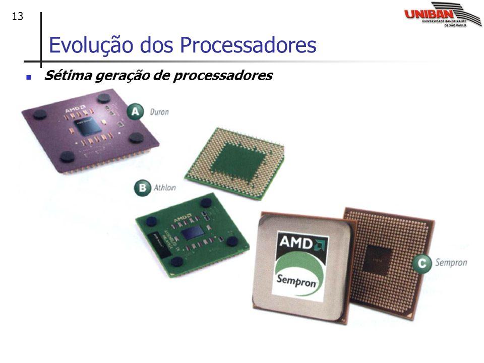 13 Sétima geração de processadores Evolução dos Processadores