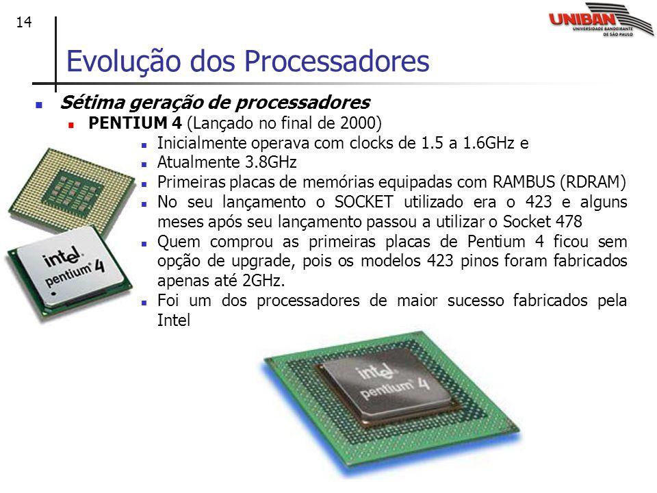 14 Sétima geração de processadores PENTIUM 4 (Lançado no final de 2000) Inicialmente operava com clocks de 1.5 a 1.6GHz e Atualmente 3.8GHz Primeiras placas de memórias equipadas com RAMBUS (RDRAM) No seu lançamento o SOCKET utilizado era o 423 e alguns meses após seu lançamento passou a utilizar o Socket 478 Quem comprou as primeiras placas de Pentium 4 ficou sem opção de upgrade, pois os modelos 423 pinos foram fabricados apenas até 2GHz.