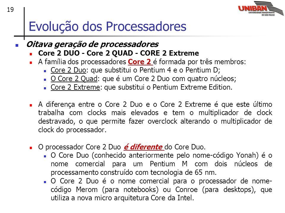 19 Oitava geração de processadores Core 2 DUO - Core 2 QUAD - CORE 2 Extreme A família dos processadores Core 2 é formada por três membros: Core 2 Duo